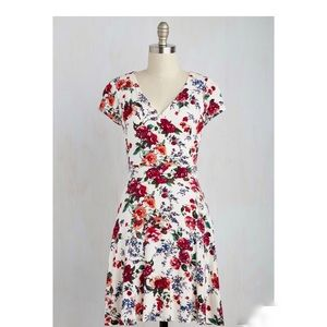 ModCloth Botanical Faux Wrap A-Line Dress
